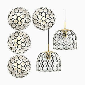 Circle Iron and Bubble Glass Light Fixtures from Glashütte, 1960s, Set of 6