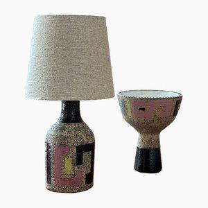 Lampada e vaso di Mari Simmulson per Upsala-Ekeby, anni '60, set di 2