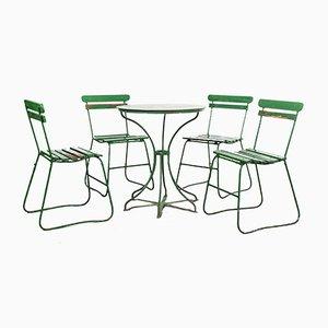Französische Grüne Gartengarnitur, 1940er, 5er Set