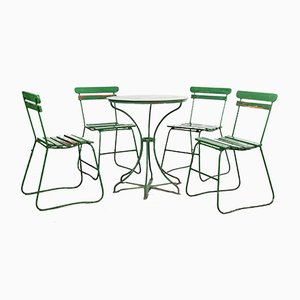 French Green Garden Set, 1940s, Set of 5