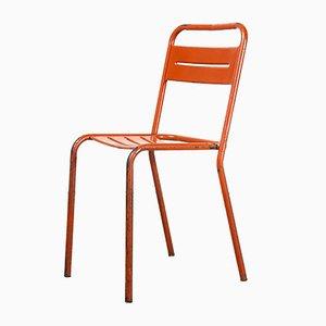 Stapelbare französische Stühle aus rotem Metall, 1950er, 10er Set