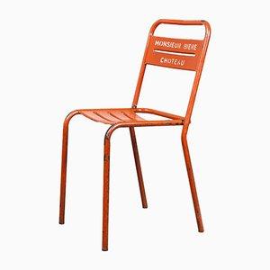Stapelbare französische Stühle aus rotem Metall, 1950er, 7er Set