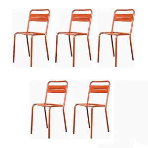 French Red Metal Stacking Outdoor Chairs, 1950s, Set of 5