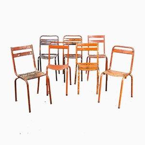 Rote Harlequin Metall Stühle, 1950er, 7er Set