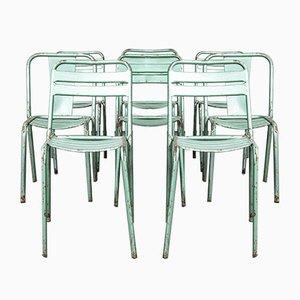 Sedie da pranzo Tolix T2 in metallo verde Arlecchino, Francia, anni '70, set di 8