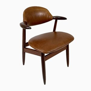 Tan Leather Cow Horn Chair by Tijsseling Nijkerk