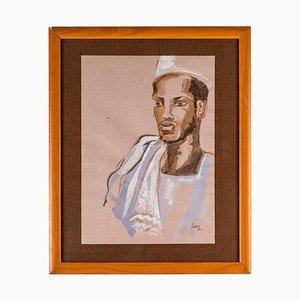 Portrait eines afrikanischen Mannes, Aquarell auf Papier, 20. Jahrhundert