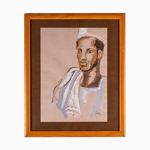 Portrait of an African Man, Watercolor on Paper, 20th-Century