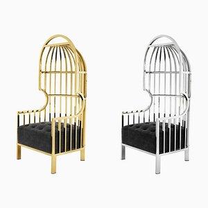 Armlehnstuhl aus Gold und Silber mit 1 Käfig