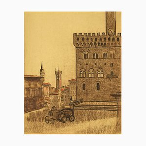 Unknown - Florence - Pencil and Chalk Drawing - 1950s