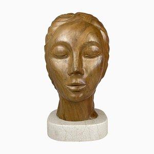 Große Skulptur eines Weiblichen Gesichtes aus Mahagoni