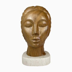 Large Sculpture of a Female Face in Mahogany
