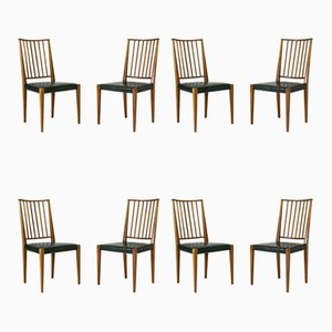 Mahogany and Leather Dining Chairs by Josef Frank for Svenskt Tenn, Set of 8