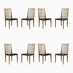 Sedie da pranzo in mogano e pelle di Josef Frank per Svenskt Tenn, set di 8