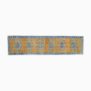 Alfombra de pasillo Oushak turca vintage de lana