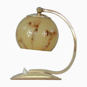 Art Deco German Marbled Opaline Glass & Brass Table Lamp, 1930s