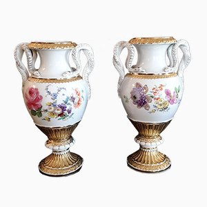 Handbemalte Vasen mit Schlangen-Griffen und goldenem Rand aus Meissener Porzellan, 1950er, 2er Set