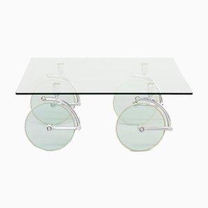 Mesa de centro cuadrada de vidrio con ruedas de vidrio, años 80