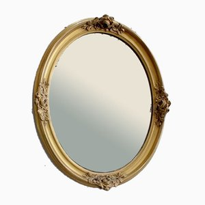 Late 19th Century Oval Mirror with Golden Wood Frame