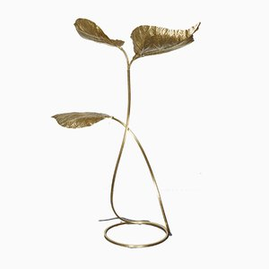 Italian Brass Floor Lamp with 3 Decorative Leaves by Carlo Giorgi & Tommaso Barbi for Bottega Gadda, 1970s