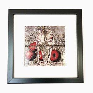 Cerámica de Adán y Eva con marco, años 80