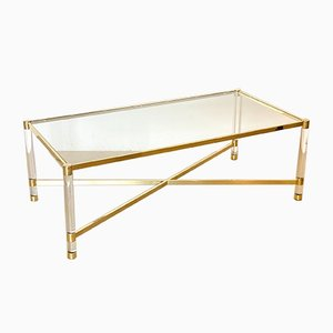 Plexiglass and Brass Coffee Table, 1970s