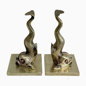 Bronze Delfin Buchstützen, 19. Jahrhundert, 2er Set