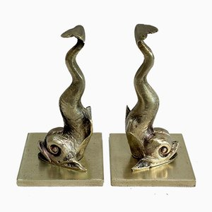 Bronze Dolphin Bookends, 19th Century, Set of 2