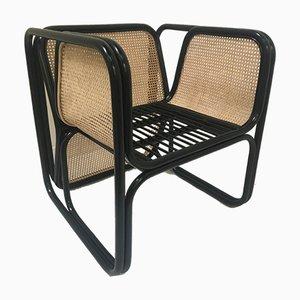 Schwarz Lackierte Vintage Stühle aus Rattan und Naturgeflecht, 6er Set