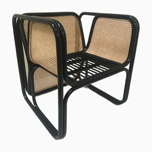 Vintage Black Lacquered Rattan and Natural Cane Chairs, Set of 6
