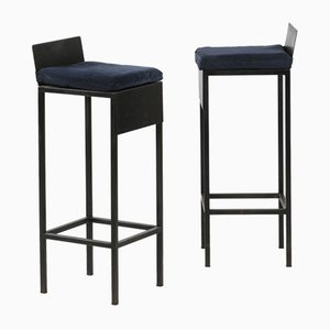 Stools with Steel Frame and Cushions in Dark Blue Velvet, 1980s, Set of 6