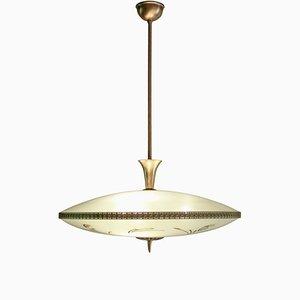 Lámpara de techo italiana con disco de vidrio decorativo, años 50