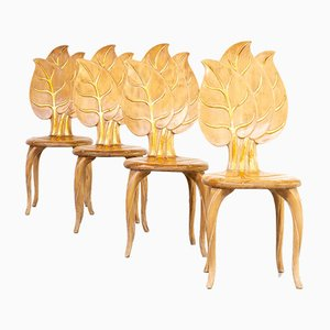 Wooden Leaf Chairs by Bartolozzi & Maioli, 1970s, Set of 4
