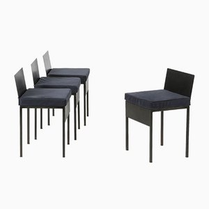 Chairs with Iron Frame and Blue Velvet Cushions, 1980s, Set of 4