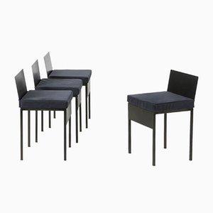 Stühle mit Eisengestell und blauen Samtkissen, 1980er, 4er Set