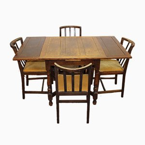Tavolo da pranzo in quercia e 4 sedie da pranzo in quercia, anni '40, set di 5