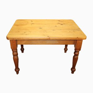 Small Rustic Pine Table on Turned Legs, 1920s