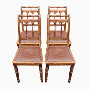 Sillas de comedor con asientos de cuero marrón, años 20. Juego de 4