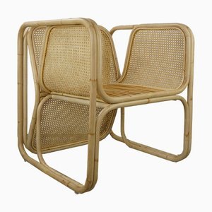 Vintage Natural Cane and Rattan Dining Chairs, Set of 4