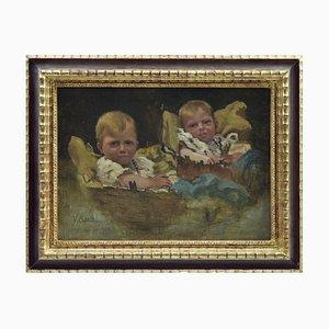 Vincenzo Caprile, Children, Oil on Tablet