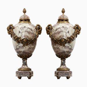 Perfume Burning Vasen aus Marmor und vergoldeter Bronze von A. Cadoux, 2er Set