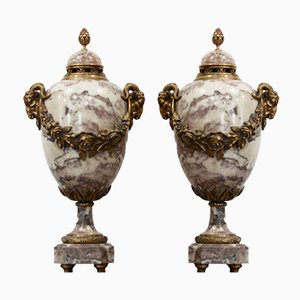 Perfume Burning Vases in Marble and Gilded Bronze by A. Cadoux, Set of 2