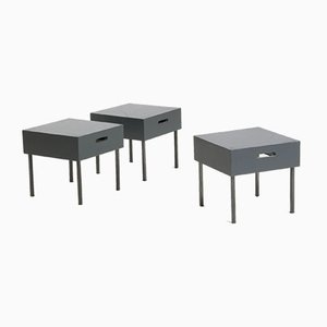 Tables with Metal Structure and Lacquered Wood, 1980s, Set of 3