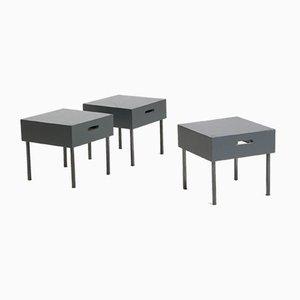 Tische mit Metall Gestell und Lackiertem Holz, 1980er, 3er Set