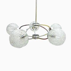 Lámpara de araña alemana era espacial de cromo y vidrio de Richard Essig, años 60