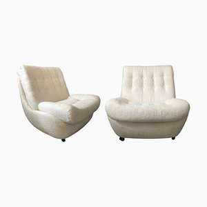 Czechoslovakian White Boucle Armchairs from Atlantis, 1960s, Set of 2