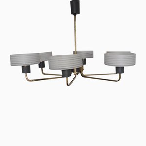 Vintage Crown Ceiling Lamp with Brass Frame, 1960s
