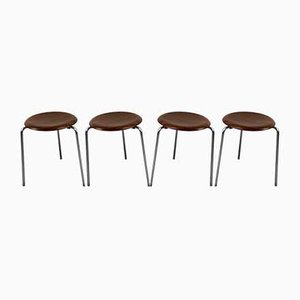 Teak FH-3170 Dot Stools by Arne Jacobsen for Fritz Hansen, 1965, Set of 4