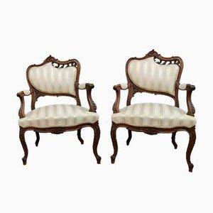 Butacas estilo Louis XV, década de 1850. Juego de 2