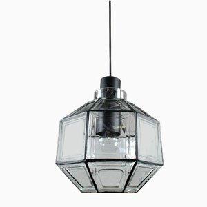 Lámpara colgante Mid-Century octogonal de hierro y vidrio de Limburg